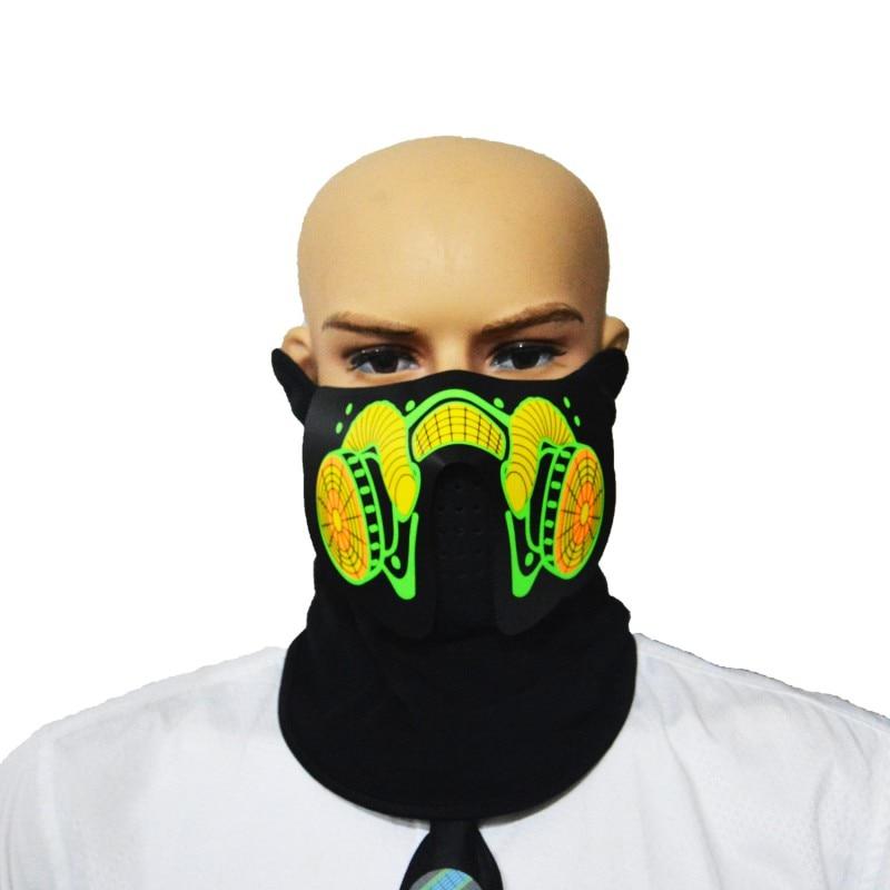 Máscara luminosa LED parpadeante máscara para fiesta Control de sonido Halloween ropa Terror casco fuego Festival Fiesta máscaras