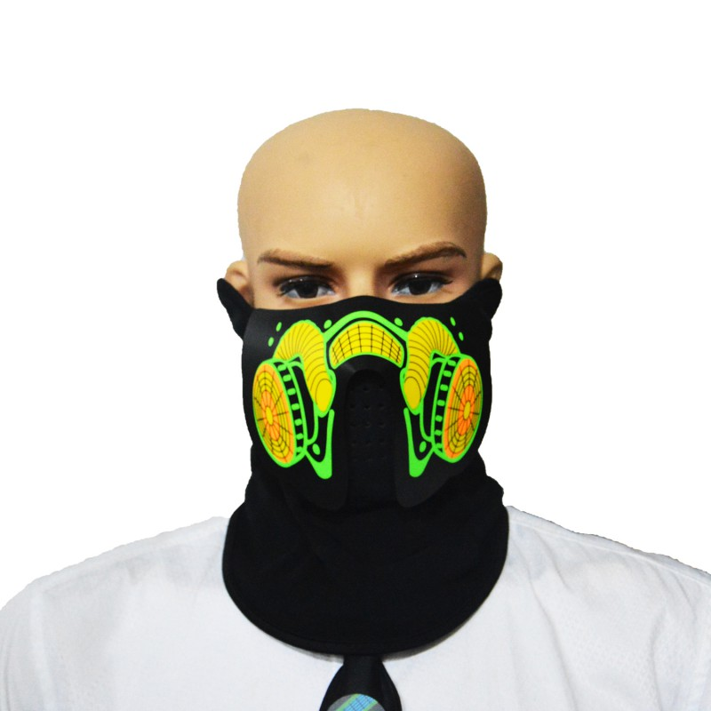 Masque LED Lumineux Clignotant Masque Parti Sound Control Halloween Vêtements Terreur Casque Feu Festival Parti Masques