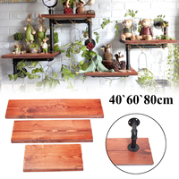 3Pcs Wall Shelves Vintage Solid Wood Board Panel Shelf Kit 40+60+80cm Bookshelf With 6 Iron Pipes Wall Mount for Home Decor