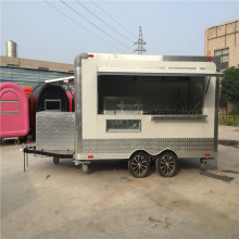 3.8 M Catering White Food Trucks Concession Food Trailers Catering Street Food Carts Corner filleted Design