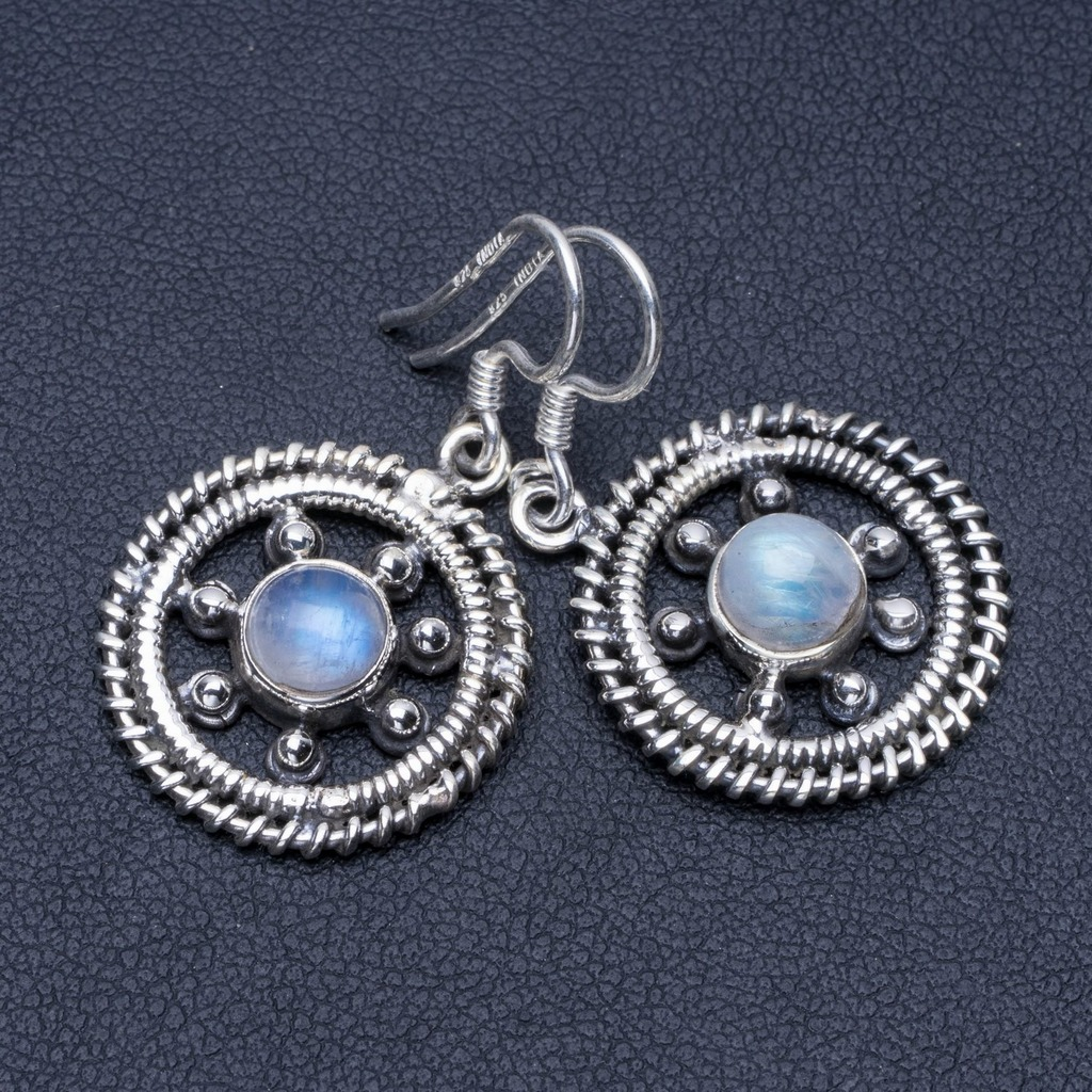 Natural Rainbow Moonstone 925 Sterling Silver Earrings 1 1/4 Q1371Natural Rainbow Moonstone 925 Sterling Silver Earrings 1 1/4 Q1371