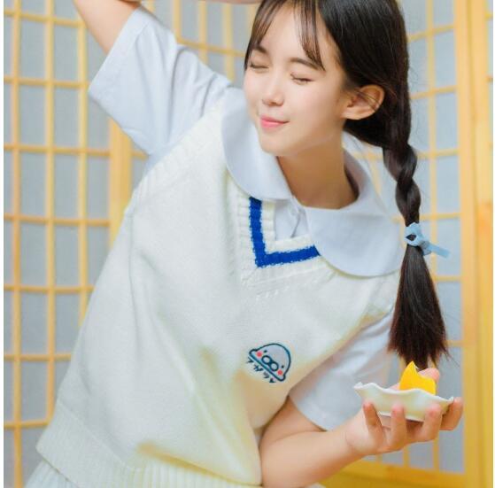 Sweet Pullovers Mamegoma School Sweater High Japanese Animal Cartoon Preppy White Jk Anime Embroidery Vest Girls Cosplay Cute Uniform q4SCgxp