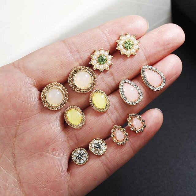 Las mujeres Cristal de Bohemia pendientes redondo/Gota de agua/de la flor geométrica stud pendiente joyería de moda regalos