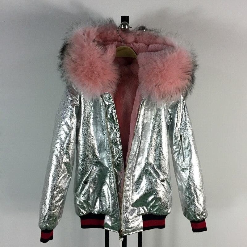 Baru tiba fashion gaya mantel tebal musim dingin bomber hangat cahaya merah  muda kulit rakun kerah bulu dengan bulu palsu dalam sliver jaket c08a4c736c