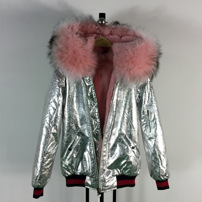New arrive fashion style thick warm winter bomber coats light pink raccoon fur collar with faux fur inside sliver leather jacket