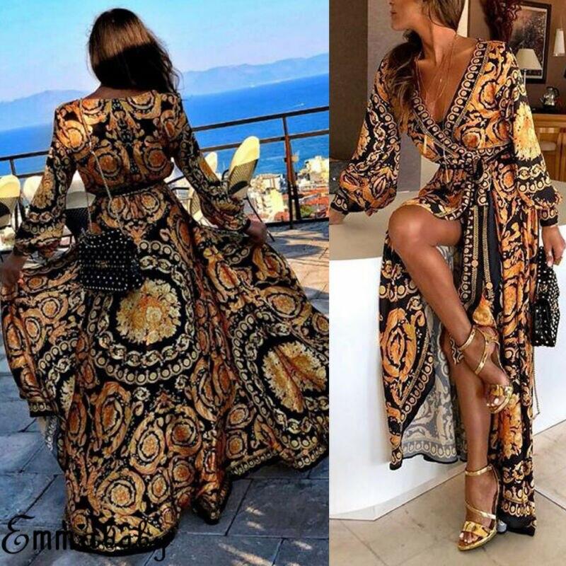 Women Floral Print Split Vintage Long Sleeve Boho Yellow Long Maxi Dress Evening Party Beach Dresses Summer Sundress