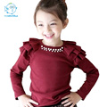 Children Kids Tees Cotton Children Clothes Baby Girls Tees Long Sleeve 2016 Autumn Cotton Flying Sleeve Solid  Kroean Style Tees
