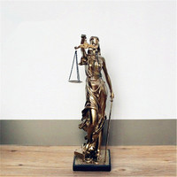 Mythological Figures Lady Justice Imitation Cuprum Resin Statue Creative Craftwork Desktop Decoration Office G1550