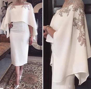 Jewel Tea Length White Applique Mother of the Bride with Wrap Elegant New Special Occasion Dresses