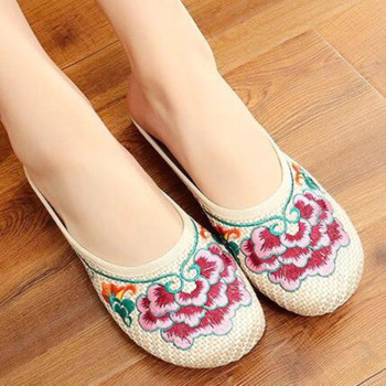 Special Offer Women's Summer Canvas Slipper Floral Embroider Breathable Casual Slides Flat Heel Walking Shoe Standard Size 4
