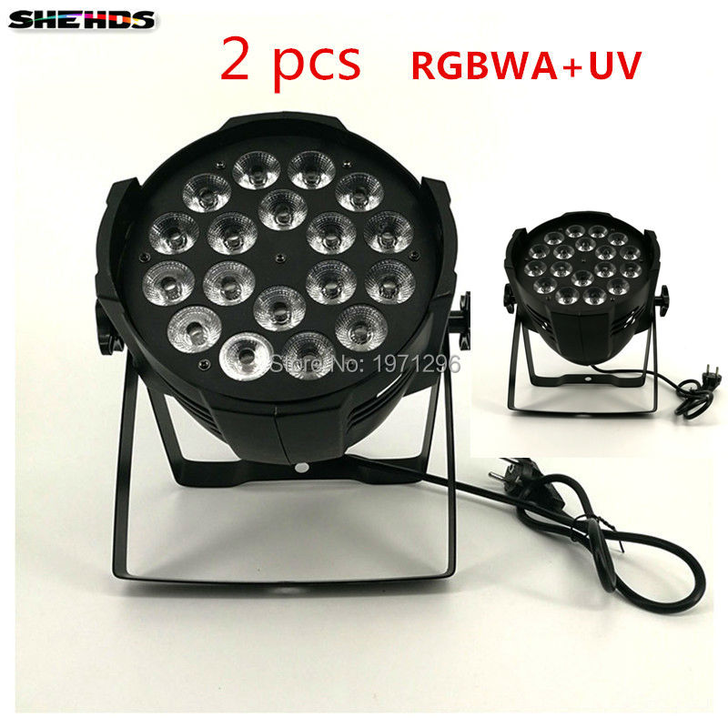 2 PCS Aluminum alloy LED Par 18x18W RGBWA+UV 6in1 LED Par Can Par led spotlight dj projector wash lighting stage lighting серьги