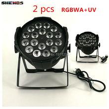 Из 2 предметов алюминиевого сплава LED PAR 18×18 Вт RGBWA + УФ 6in1 LED PAR может светодиодный прожектор par DJ проектор стирка Этап освещения