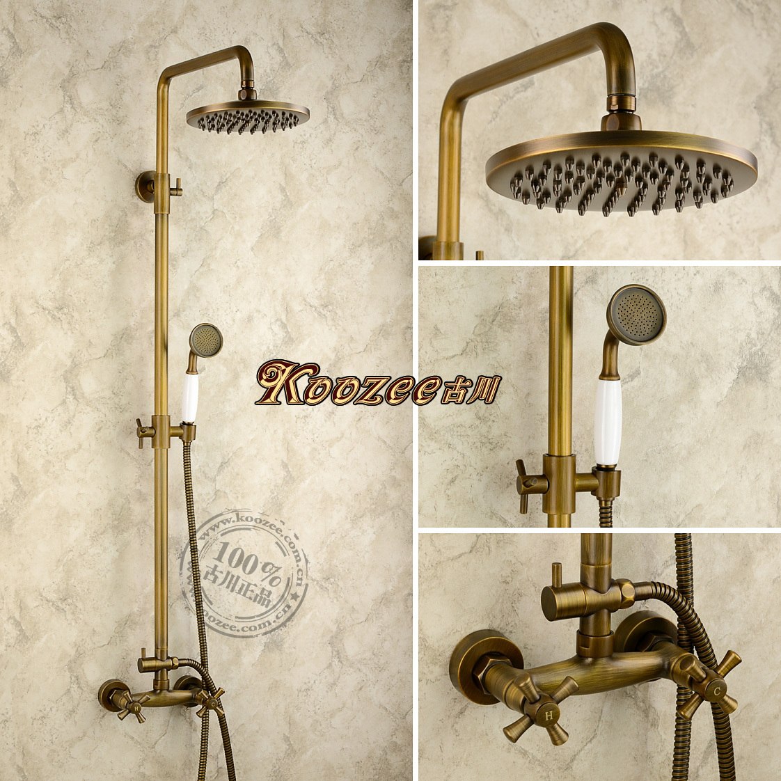 free shipping Antique shower heads copper set vintage fashion black ...