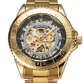 Top Luxury Watches Men Automatic Steel Watches Gold Chronograph Gear Case Skeleton Dial Steel Band Mechanical Wristwatch Mens