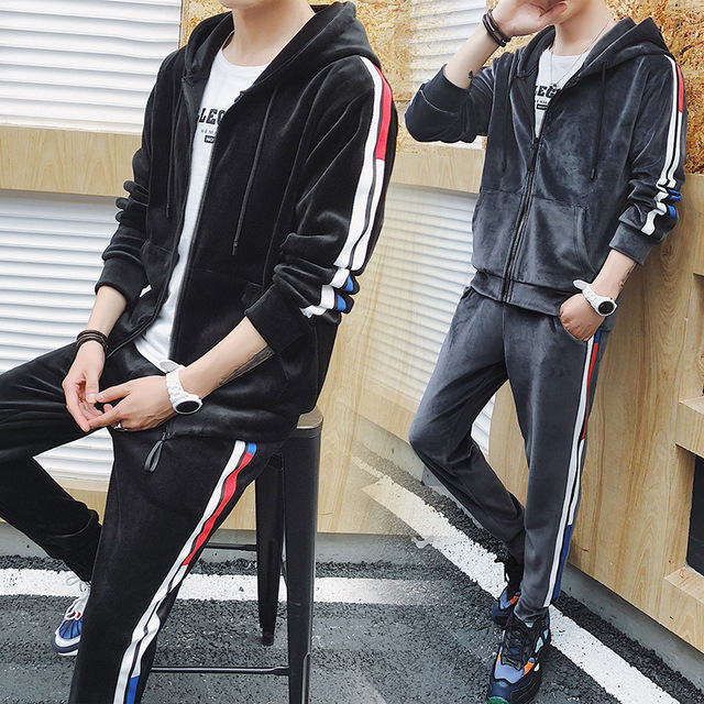 Two Piece Set Male Set Hooded Sportswear Spring Autumn Warm Velvet Tracksuit Sweatshirt Leisure Pant Sweat Suit Home Clothing