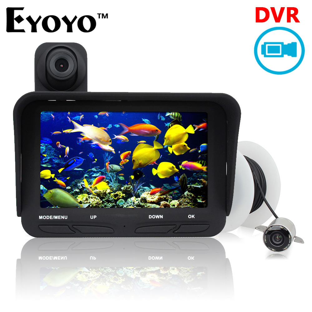 Eyoyo Original 20m Professional Night Vision Fish Finder DVR Video 6pcs Infrared LED Underwater Fishing Camera+Overwater Camera eyoyo 20m professional night vision underwater fishing camera fish finder dvr video infrared led overwater camera free 32gb card href