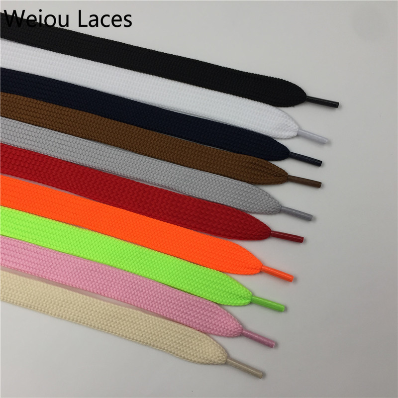 (30Pairs/Lot) Weiou New Amazing Fat Shoelaces 1.8cm Width Flat Shoe Laces Double Layer Wide Shoestrings For Sports Shoes Clothes weiou 100pcs lot 3 8x22mm clothes lace painting purple shoelace metal tips matt diy replacement custom aglets shoe laces ends