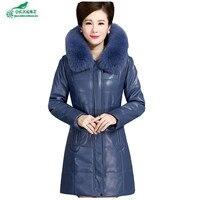 Новый пожилых женщин кожа пуховые хлопковая верхняя одежда утолщение тонкий большие размеры длинные кожаная куртка пальто женские зимние