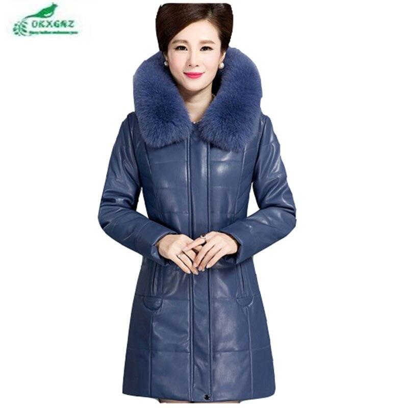New elderly women   leather   down feather cotton Outerwear thickening slim plus size long   leather   jacket coat women winter OKXGNZ