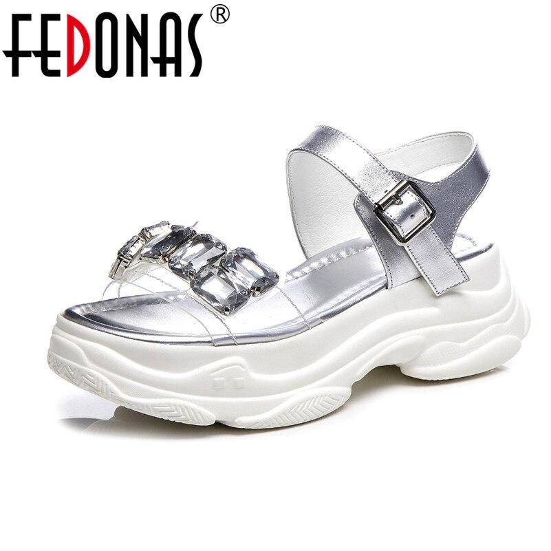 nero argento qualità estate casual sandali vera base Casual donna Fedonas cristallo di in Donna festa alta bianco Roma decorazione pelle di scarpe wfROqHt