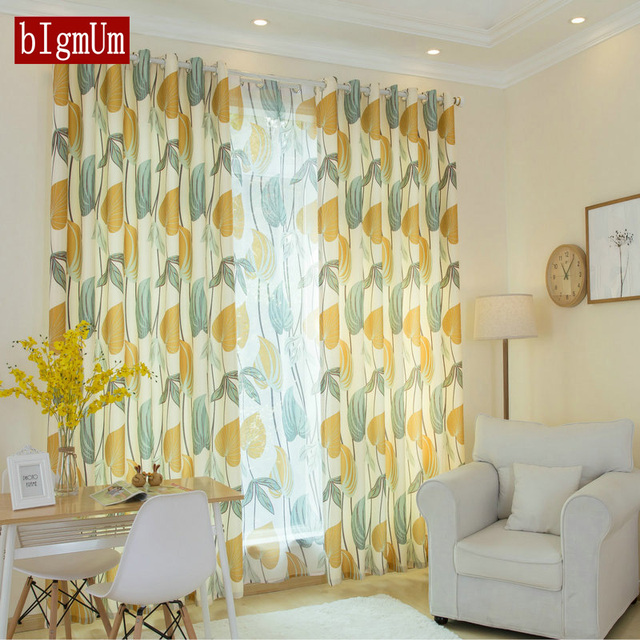 kitchen drapes refrigerator us 11 86 40 off yellow leaves tulle curtain for living room bedroom sheer curtains fabric nordic rustic window treatment in