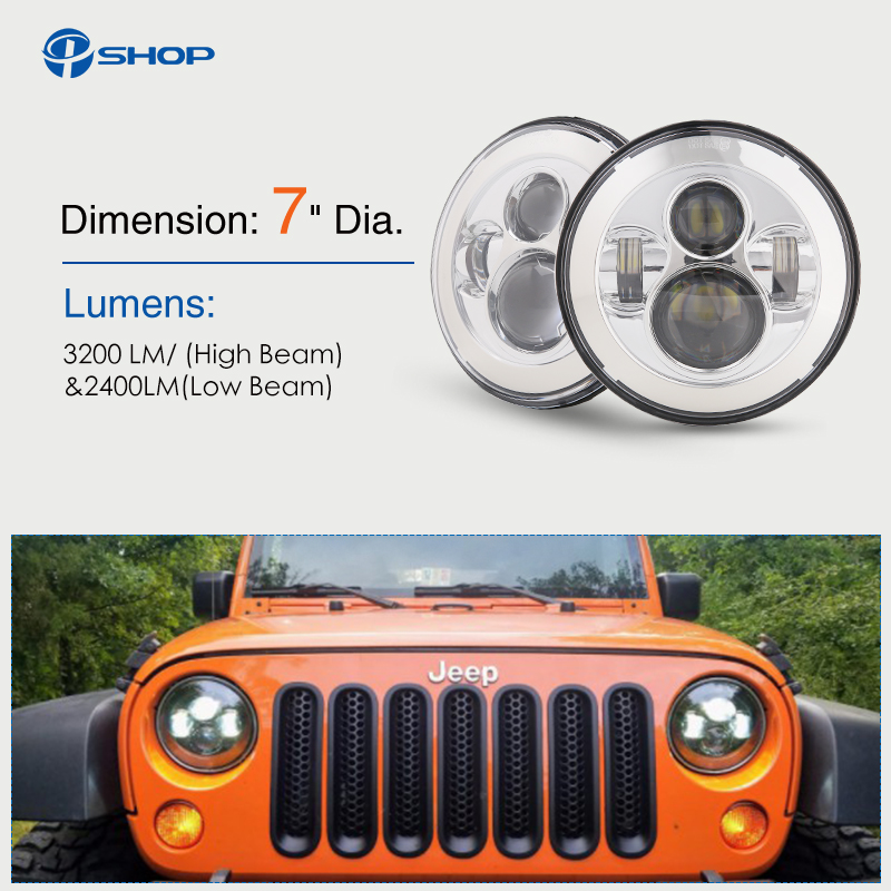 7 inch LED Halo Headlights 7 LED Headlight H4 Hi/low Auto Headlight With Angle Eye For Jeep Puch Kenworth Nissan Suzuki Samurai led car headlights 7 angelic eyes 50w h4 hi lo with mask for jeep lada nissan safari nissan patrol toyota land cruiser prado