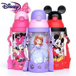 Disney Minnie Mickey Minnie Cups Cartoon Plastic Effen Voeden Student Handig Outdoor Kind Bidon Met Stro 500Ml