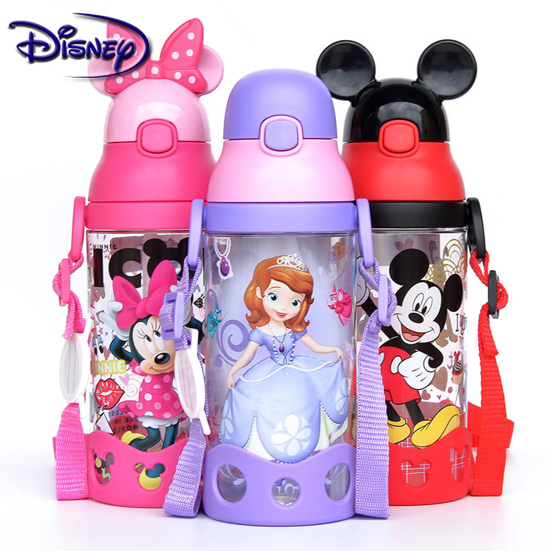Disney Minnie Mickey Mouse Cups Cartoon Plastic Solid Feeding Student Convenient Outdoor Child Sports Bottle With Straw 500ML