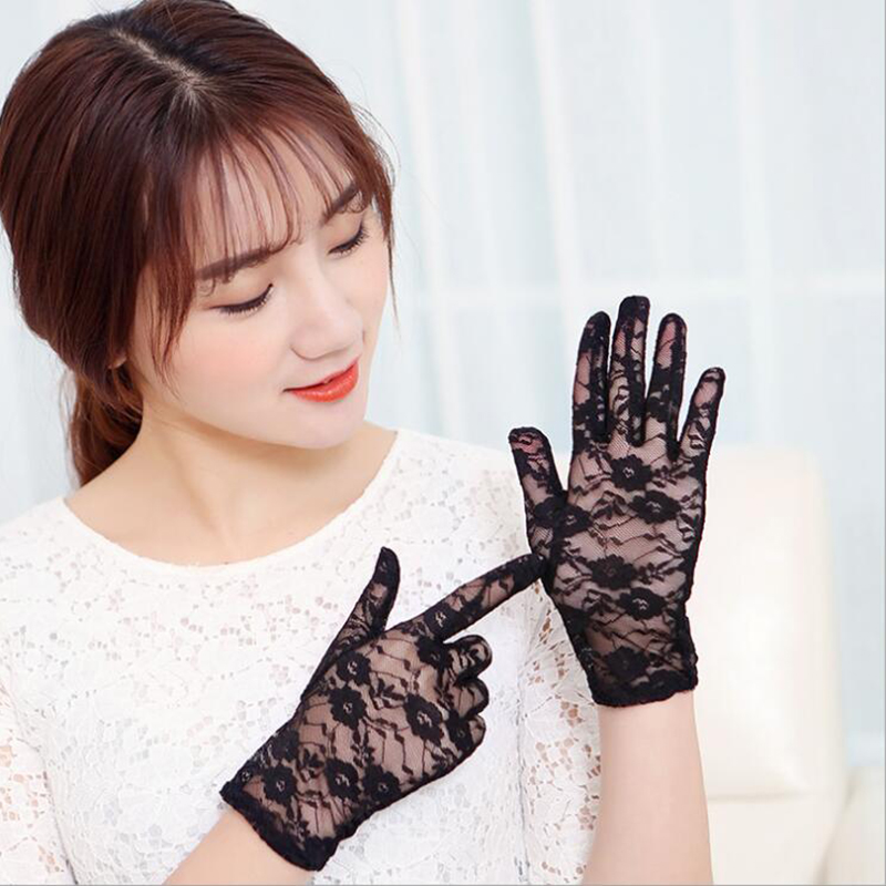 Sexy Dressy Gloves Women Transparent  Lace Flower Gloves Ladies Full Finger Sunscreen Fishnet Gants Weddingg Party