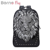 Berno Fly Brand 3D Lion Design PU Leather Backpacks Vintage Rock Women Bags Rivet Computer Bags