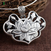 BALMORA 990 Pure Silver Vintage Lotus Flower Pendants Women Lover Accessories Without A Chain Retro Jewelry