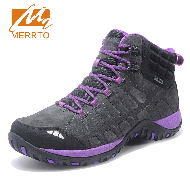 2018 Merrto Plus Velvet Womens Hiking Shoes Warmth Outdoor Shoes Breathable Climbing Sport Shoes For Women Free Shipping MT18691 2018 merrto womens outdoor walking sports shoes breathable non slip travel shoes for women purple rose red free shipping mt18665