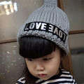 Fast Shipping High Quality 2016 Korean Fashion Cute Lovely Letter Knitted Hats Children Baby Hat Fashion Kids Caps Autumn&winter