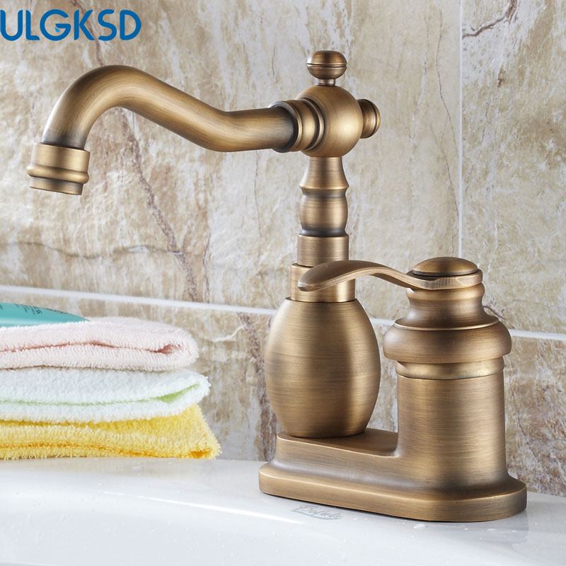 ULGKSD Antique Brass Bathroom Faucet Deck Mounted Basin Sink Faucet Mixer Tap Single Handle ulgksd basin sink faucet deck mounted mixer tap antique brass single handle bathroom faucet