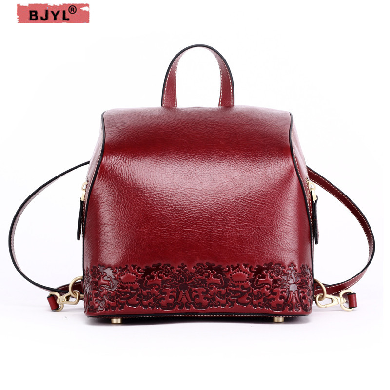 BJYL New Women Backpacks Real cowhide leather small suede leather soft casual retro printed flowers Pattern Female Shoulder BagsBJYL New Women Backpacks Real cowhide leather small suede leather soft casual retro printed flowers Pattern Female Shoulder Bags