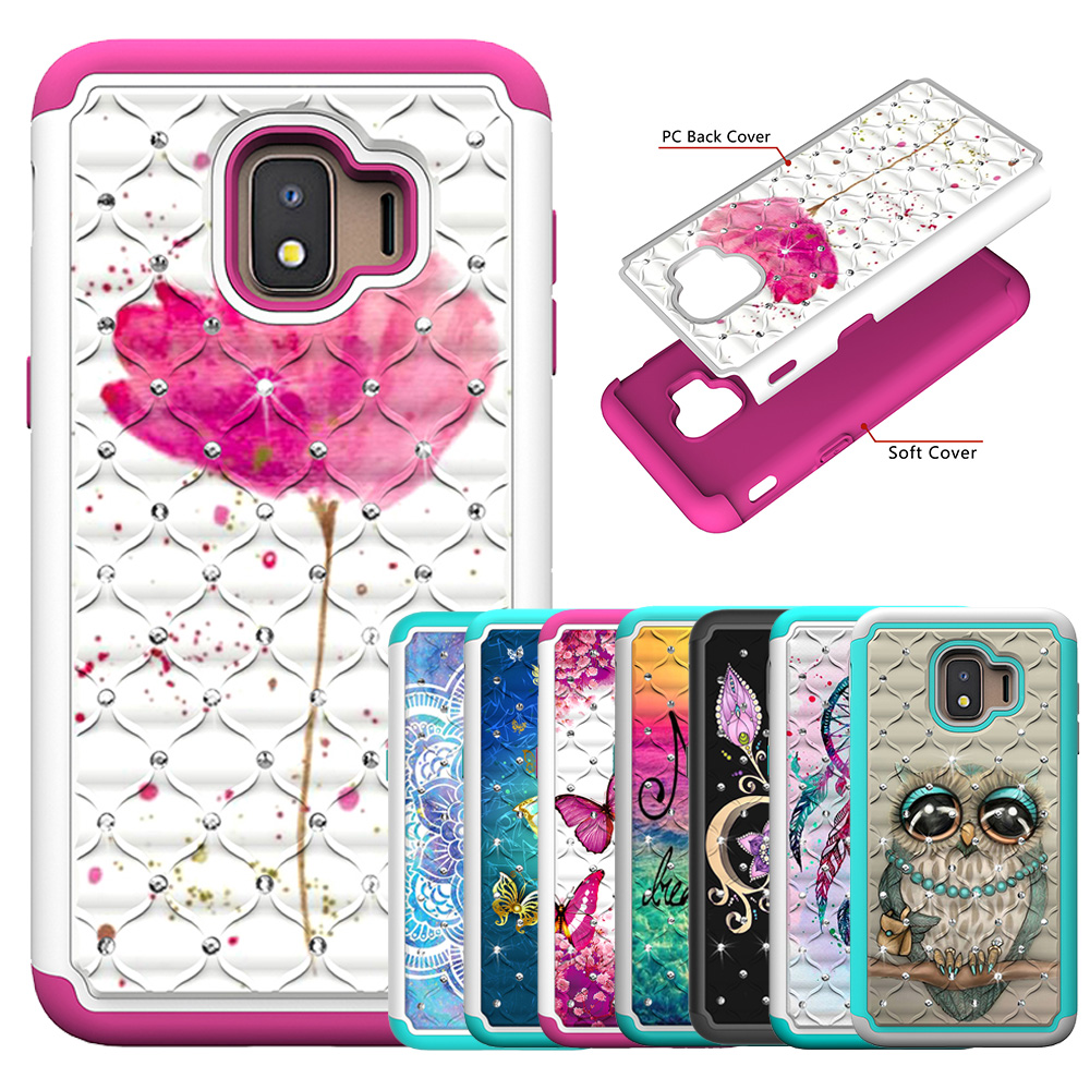 Für Samsung Galaxy J2 Core Fall Glitter Bling Diamant Pc Silikon Hybrid Telefon Fall Für Samsung J2 Core 2018 Abdeckung Zubehör