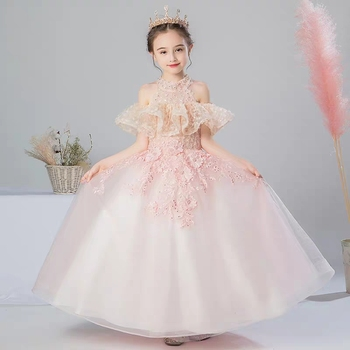 Kids Tulle princess Dress for First feast Gorgeous Lace Ball Gown Baby Kids Dress for Wedding Birthday Party Costumes 3~15 Years