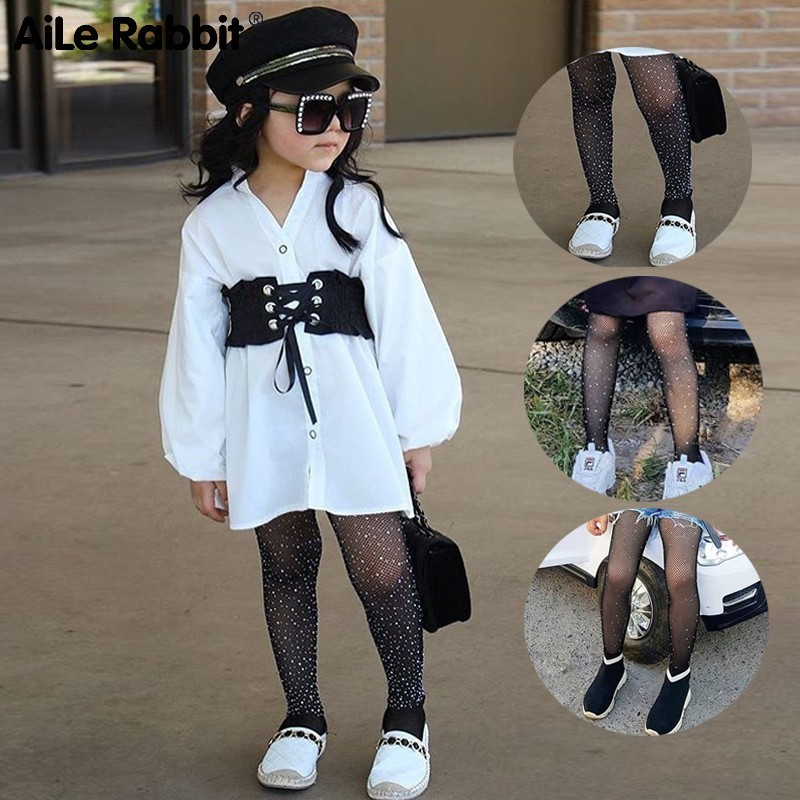 Fashion Girls Children Mesh Network Pattern Pantyhose Stockings Occasional Solid INS Sale Bright Diamond Base 4-12years
