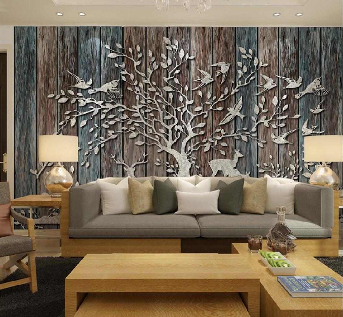 Europ ische abstrakten baum vogel elch wapiti foto tapeten for Bed back wall design