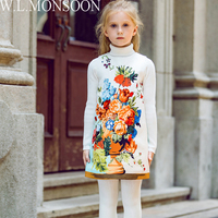 W L MONSOON Baby Girls Party Dresses Christmas Clothes 2017 Brand Winter Children Dresses For Girls
