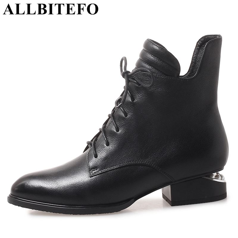 ALLBITEFO thick heel genuine leather women boots fashion brand high heels ankle boots fashion winter girls