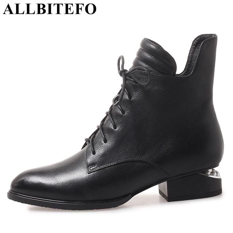 Allbitefo 두꺼운 뒤꿈치 정품 가죽 여성 부츠 패션 브랜드 하이힐 발목 부츠 패션 겨울 여자 오토바이 부츠-에서앵클 부츠부터 신발 의  그룹 1