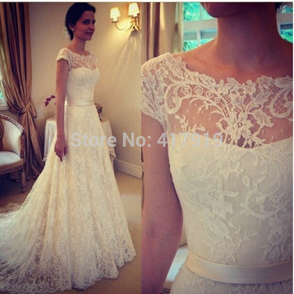 lace cap sleeve short wedding dress short sleeve wedding dresses Lace Cap Sleeve Wedding Dress Bridal Dresses With Short Sleeves