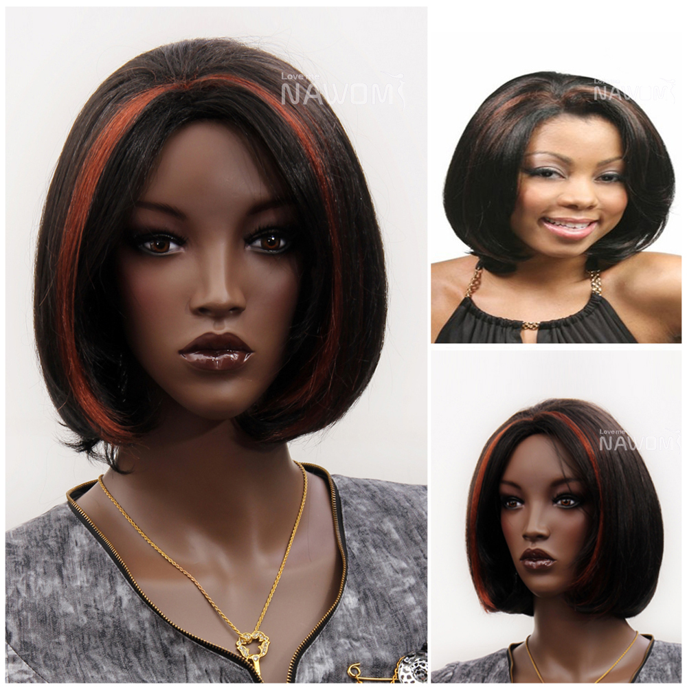 halloween wigs short black centre parting style red highlight wigs