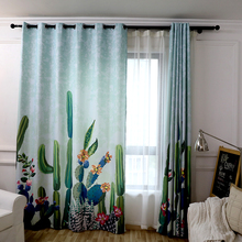 Modern Cactus Plant Printed Child Curtains Window Semi shading Cotton Linen Curtains for the Bedroom Living