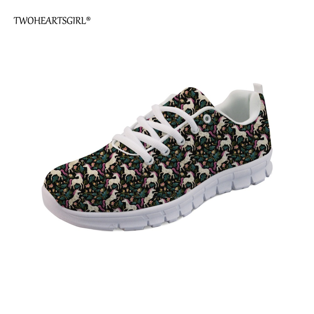 Twoheartsgirl Cartoon Unicorn Sneakers for Women Casual Ladies Flats Walking Shoes Breathable Lace Up Mesh Shoes Lightweight instantarts casual women s flats shoes emoji face puzzle pattern ladies lace up sneakers female lightweight mess fashion flats