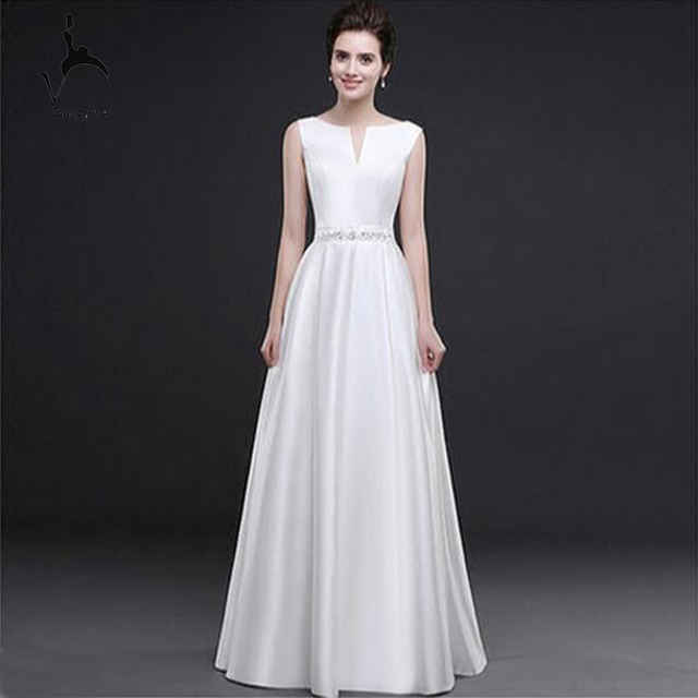 Simple Design Sleeveless A line Wedding Dress Stunning V neck ...