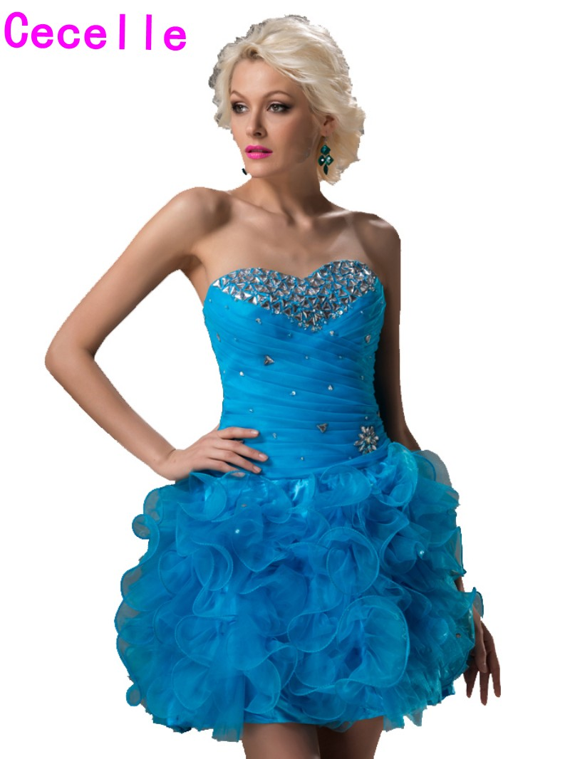 Livraison Gratuite Court Homecoming Robes 2019 Bleu Mini Perlé Ruches Organza Dentelle-upCocktail Homecoming Robes pour Juniors