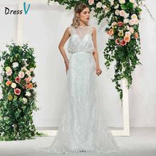 Dressv ivory elegant scoop neck mermaid sleeveless lace button wedding dress floor length simple bridal gowns wedding dresses(China)