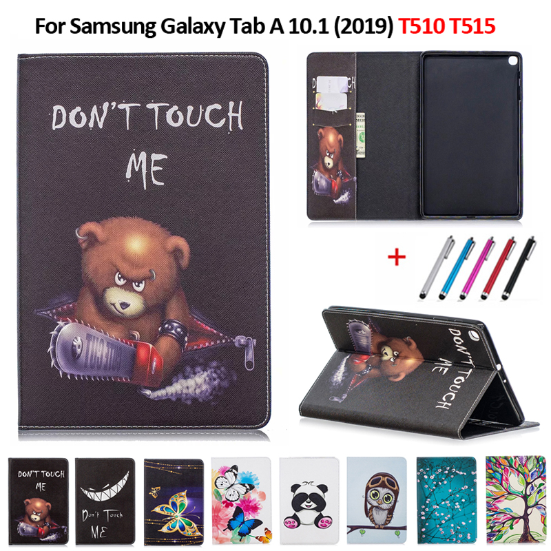 Smart PU Leather Printed Cover For Samsung Tab A 10.1 2019 Case Tablet Cover Funda For Galaxy Tab A 10.1 SM-T510 SM-T515 + Pen